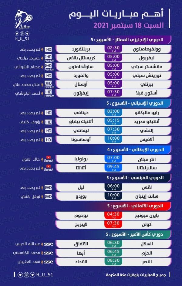 رياضة: مباريات اليوم السبت 18 سبتمبر 2021